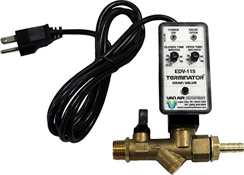 """Van Air Systems 39-10507 Automatic Tank Drain for Air Compressors, 115V AC, Dual Inlet 1/2"""" and 1/4"""", Y-Strainer, Test Mode, Isolation Valve, 3/8"""" Hose Barb Fitting, 6' Power Cord"""