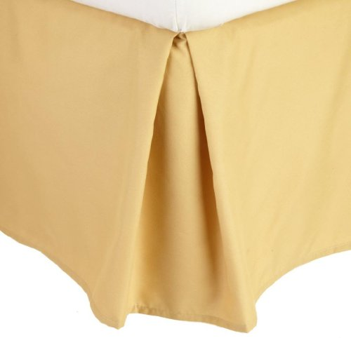 Clara Clark Grand 1200 Collection Solid Bed Skirt Dust Ruffle, Queen Size, Camel Yellow Gold
