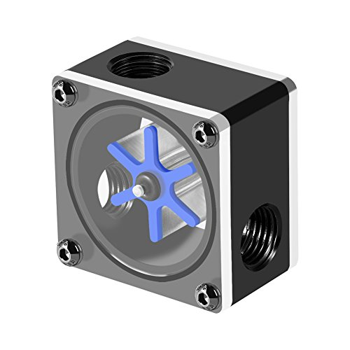 Lazmin Indicador de Flujo de enfriamiento por Agua de 3 vías, Sensor de Flujo de Agua 6 Impulsor Medidor de Flujo de 3 vías para PC Sistema de enfriamiento de Agua