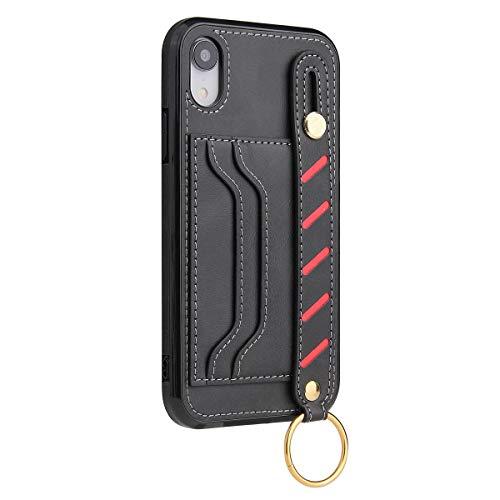 Lasvos Compatibel met iPhone XS-hoes, lederen armband, standaard, cover, case, kaartenvak, portefeuille, 2 creditcardvakjes, lederen hoes en standaard voor iPhone XS