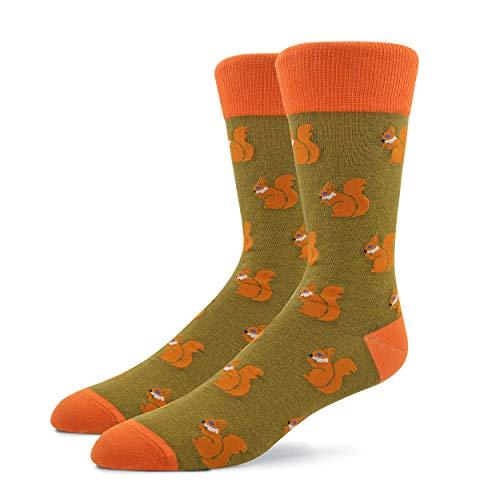 Patron Socks - 1 Paar Bunte Herren Socken, Eichhörnchen Socken, Tier Socken, Socken mit Muster, Gemusterte Socken, Witzige Socken, Mehrfarbige Socken aus Baumwolle (41-46)