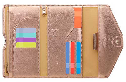 Zoppen Mulit-purpose Rfid Blocking Travel Passport Wallet (Ver.4) Tri-fold Document Organizer Holder, Rose Gold