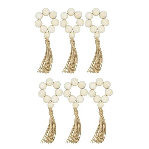 TaoToa Set Of 6 Beaded Wood Napkin Rings with Table Setting Wedding Party DéCor Accessories Napkin Holder Natural Style