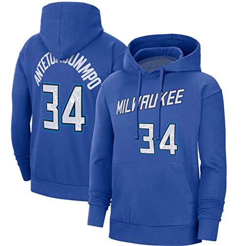 2021 Milwaukee Bucks #34 Antetokounmpo Sweat Hood Sudadera Con Capucha Para Hombre, Camisetas De Baloncesto, Camisetas Casuales, Lavables A Máquina, Adecuadas Para Deportes Al Aire Libre,Blue#34,L
