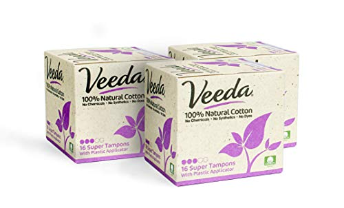 Veeda 100% Natural Cotton Compact BPA-Free Applicator Tampons Chlorine, Toxin and Pesticide Free, Super, 16 Count (Pack of 3)