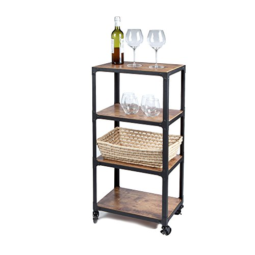 Mind Reader 4 Tier All Purpose Utility Cart, Wood/Metal, Black/Brown