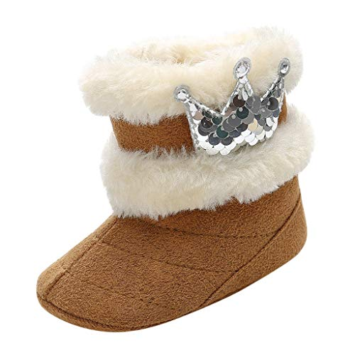Lazzboy Kleinkind Kind Baby Nette Krone Bling Winter Warme Schnee Aufladungs Beiläufige Schuhe Säuglingsjungen Mädchen Stricken Woolen Stiefel Prinzessin Prewalker(Braun,12-18Months)
