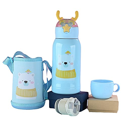School Water Bottles for Kids Stainless Steel Personalised Small Insulated Metal Drinking Disney Travel Mini Thermos Flasks Penguin Cups with Straw for Hot Drinks Kids Sports Bottle 500ml (????)