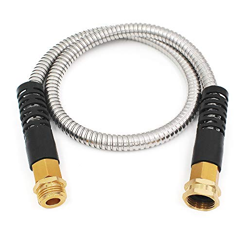 Cesun 5 Feet Metal Garden Hose, Short Connector Hose, Water Hose Extension, Extremely Flexible Lead-in Hose, for Hose Reel/RV/Dehumidifier, Lightweight/Durable/Drinking Water Safe (SS Female to Male)