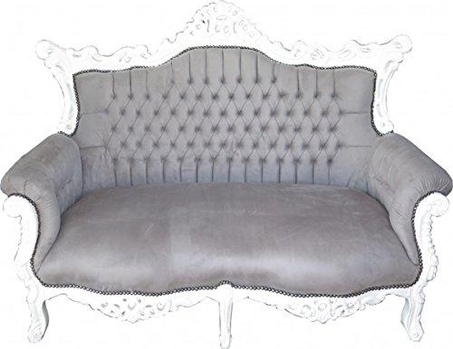 Barock 2-er Sofa Master Grau/Weiß - Antik Stil Wohnzimmer Möbel
