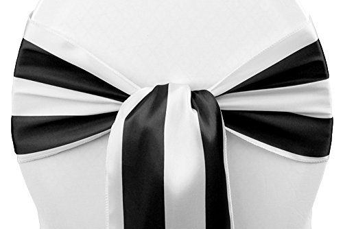 "50 Pk, Stripe Satin Chair Sash Approx. 7""W x108""L; Edge: Serged - Black & White"