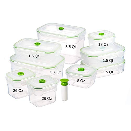 Lasting Freshness 19 Piece Vacuum Seal Food Storage Container Set, Rectangle
