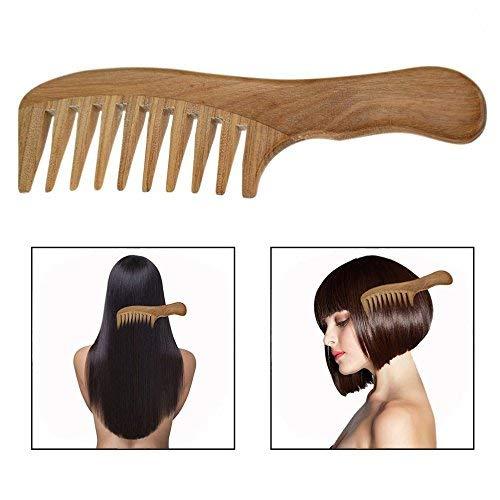 OFKPO Peigne à Dents Larges, Peigne en Bois de Santal Naturel, Peigne de Massage et Soin des Cheveux