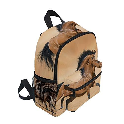 FANTAZIO mochila escolar elemental guapo marrón caballo Bookbag