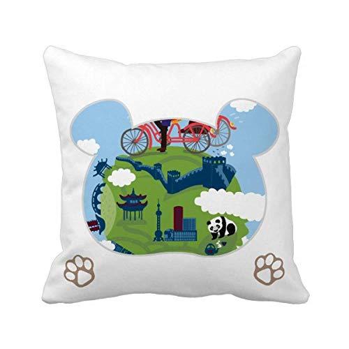 Funda cuadrada de almohada con diseño de oso de la Gran Muralla
