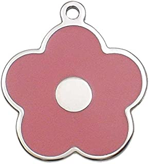 LuckyPet Pet ID Tag - Stainless Steel Flower Jewelry Tag - Dog & Cat Tags - Custom Engraved on Back