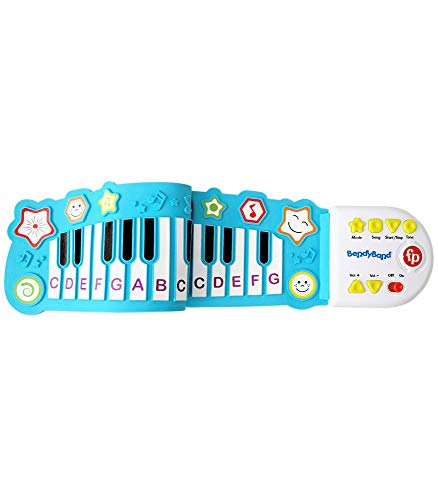 Fisher-Price BendyBand Roll-Up Piano—Electric Piano Keyboard for Kids, 32 Soft Piano Keys, 5 Songs, Follow-Me Mode, Musical Toys for Toddlers, Ages 3+