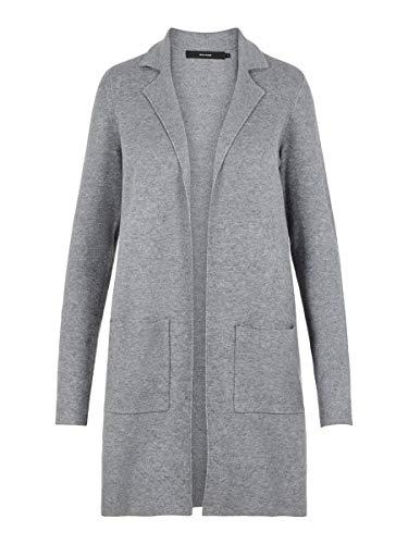 VERO MODA Damen Vmtasty Fullneedle New Coatigan Noos Mantel, Medium Grey Melange, L EU