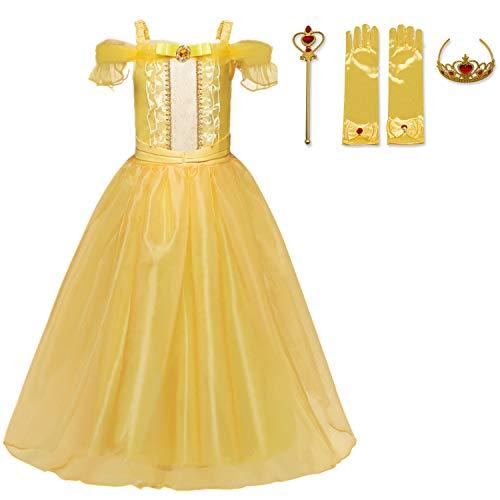 TTYAOVO Little Girls Layered Prinzessin Belle Kostüm verkleiden Sich Größe (130) 5-6 Jahre Gelb