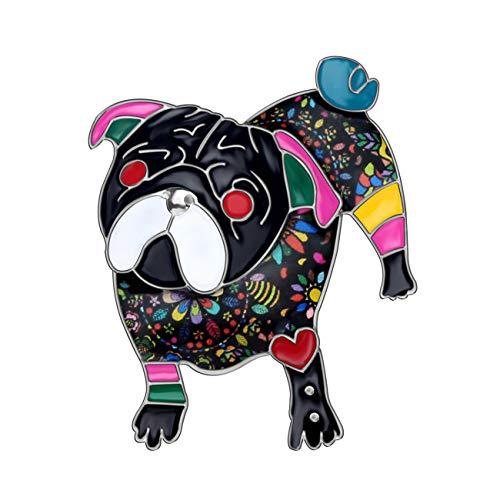DUOWEI Alloy Enamel Rhinestone French Bulldog Pug Dog Brooch Pet Pin Scarf Clothes Jewelry Gift for Women Lover (Dark)