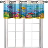 YUAZHOQI Cortinas de cenefa de acuario divertido estilo de dibujos animados paisaje subacuático con Variou 91,4 cm de ancho x 45,7 cm de largo, cenefas de cocina para ventanas (1 panel)