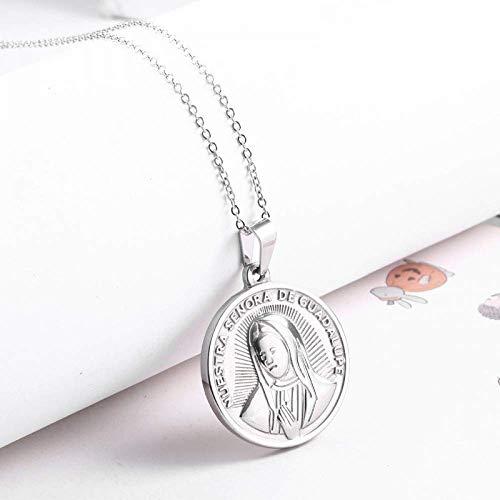 Gepersonaliseerde accessoires, Kettingen, Hanger Ketting Ronde RVS gouden munt hanger medaille kettingen vrouwen, Thumby ZILVER