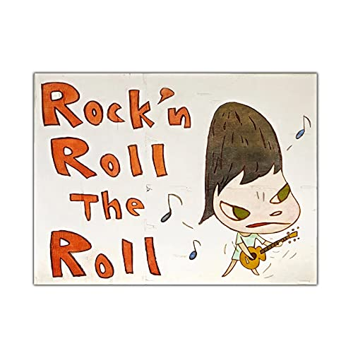 zkpzk Citon Yoshitomo Nara《Rock N Roll The Roll》Canvas Art Oil Painting Artwork Picture Modern Wall Decor Home Living Room Decoration -60X70Cmx1 No Frame