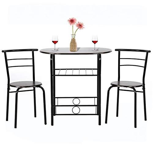 3PC Kitchen Small Table Contemporary Dining Set, Metal Frame Luxurious and Retro Oval Wood Kitchen Tabletop and 2 Chairs for Home or Hotel Dining Room, Kitchen or Bar Space Saver Best Dining Set