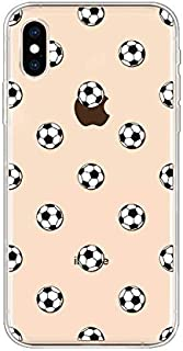 iPhone Xs Max Case, Peachy Life Cool Clear Fun Style Soft TPU Rubber Case Compatibility for iPhone Xs Max (Soccer Style)