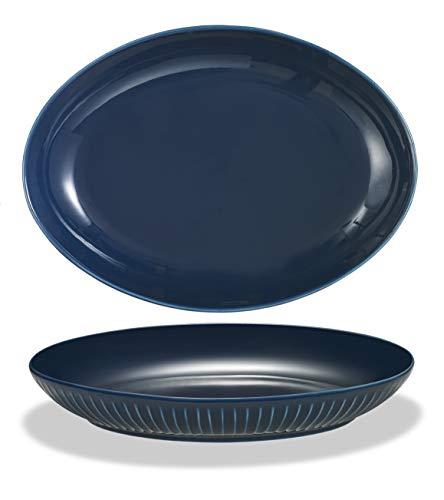 Supremery 2er Set Pastateller aus Keramik, Ovaler Suppenteller Speiseteller 23cm, tiefer Teller, spülmaschinen-, mikrowellengeeignet, blau Grow