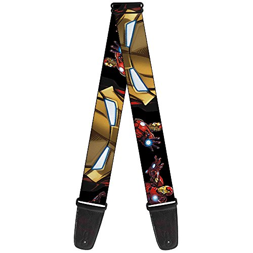 Buckle-Down Guitar Strap - Marvel Avengers Iron Man Poses/Face CLOSE-UP Black - 2' Wide - 29-54' Length