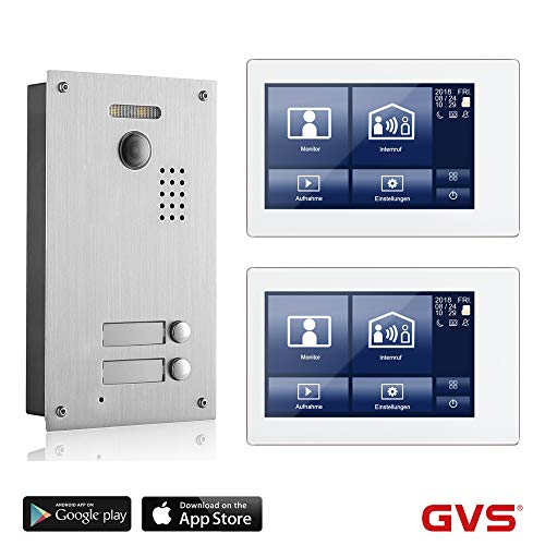 GVS 2-Draht/IP Video Türsprechanlage, 2 Familienhaus Set, Handy-App, 2X 7 Zoll Touchscreen, Tür-Öffner-Funktion, Foto-/Video-Speicher, Unterputz Türstation, 2 MP 170° Kamera, AVS7038-8068-22