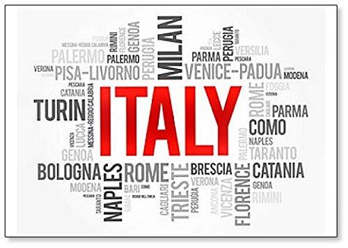 Imán para nevera, diseño de la lista de ciudades en Italia, con texto en inglés