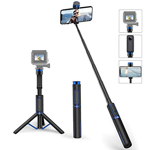 ATUMTEK Bluetooth Selfie Stick Tripod with Screw Mount, Extendable 4 in 1 Aluminium Selfie Stick with Wireless Remote for iPhone 11/X/XS/8/7 Plus, Samsung, GoPro, Osmo Action, Selfie Light and More