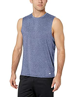 Amazon Essentials Men's Tech Stretch Performance Muscle Shirt, Dark Blue Heather, Large by Amazon Essentials