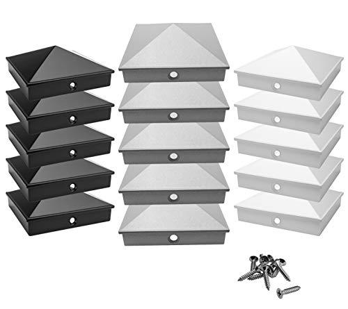 tapas de poste 9x9 cm de aluminio fundido   paquete de 5 / 10 pintado en polvo en 3 colores   inoxidable   pirámide   tapa de cubierta / tapa decorativa   (5, plata)