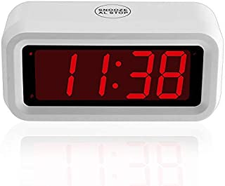 Umi. Essentials Digital Alarm Clock - 1.2 Inch Digits Display, Snooze, Non Ticking, Battery Operated Only, White