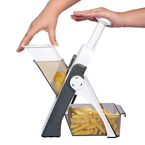 Vegetable Choppers,ONCE FOR ALL Multifunctional Vegetable Slicer with Stainless Steel Blades, Manual Food Cutter for Chef and Household