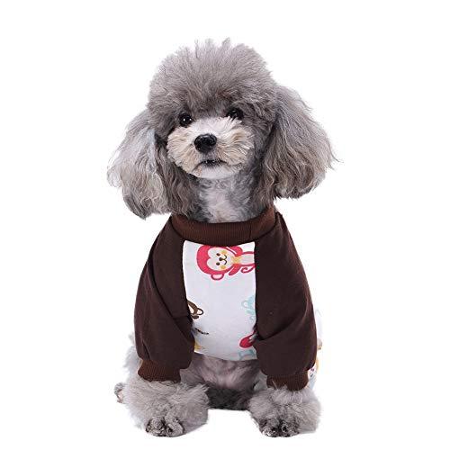 Gychee Hunde-Pyjama für Hunde, Bekleidung Haustier-Overall mit 4 Beinen, lässig, niedlicher Affe, Hauskleidung, Baumwoll-Outfit für Welpen
