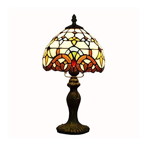 CH-LIGHT Tischlampe Europäischen Kreative Tiffany Farbe Glas 8 Zoll Tischlampe Barock Schlafzimmer Nachttischlampe Durchmesser 20 cm Kleine Lampe,SwitchButton