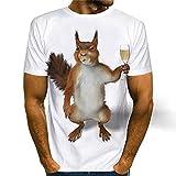 Camiseta para Hombre con Estampado 3D Lindo Patrón De Ardilla Único Cuello Redondo Hombres Manga Corta Verano Ocio Transpirable Hombres Sudadera C-003 XL