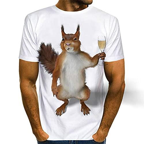Camiseta para Hombre con Estampado 3D Lindo Patrón De Ardilla Único Cuello Redondo Hombres Manga Corta...