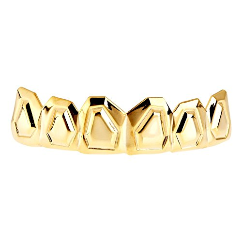 Iced Out One Size Fits All Bling Grillz - Outline TOP - Gold