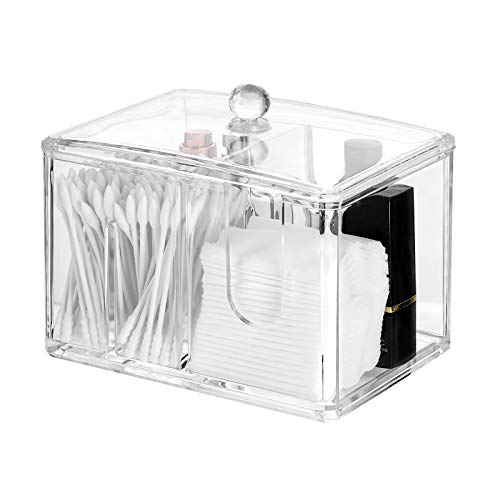 Frcolor 綿棒ケース コットンケース 棉棒ボックス コットン入れ 綿棒入れ コスメケース 小物収納 アクリル製 蓋付き 防塵 透明 卓上収納