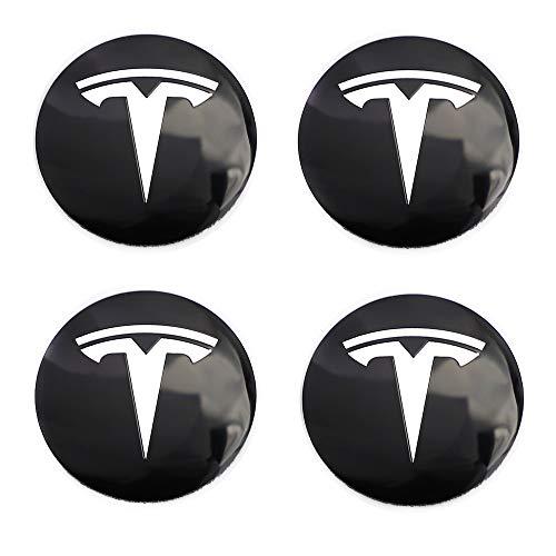 4PCS 56mm (2.2 Inches) Circular arc Form 3D Stereo Aluminum Alloy Wheel Hub Caps Centre Cover Emblem Badge Sticker fitfor Tesla Roadster Model S Model X Model 3 Modification Hub Cover (Black)