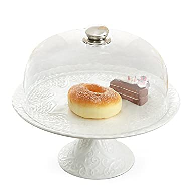 Magicpro Amazing Fine Porcelain Round Cake Stand Multifunctional Cake and Serving Stand with lid 11.8 Inch