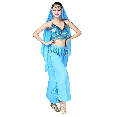 OBEEII Disfraz Danza del Vientre Mujer 3Piezas Traje de Baile para Actuación Carnaval Disfraz Oriental India Árabe Top Pantalones y Velo Cabeza Azul
