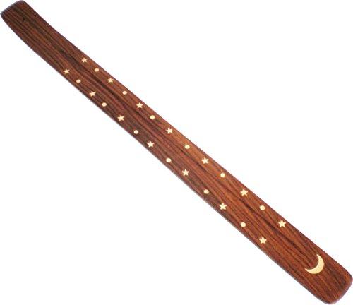 "Cultural Exchange New Age Sun Moon & Stars Flat Jumbo Canoe Incense Burner [Pack of 2 - White - 18.25""]"
