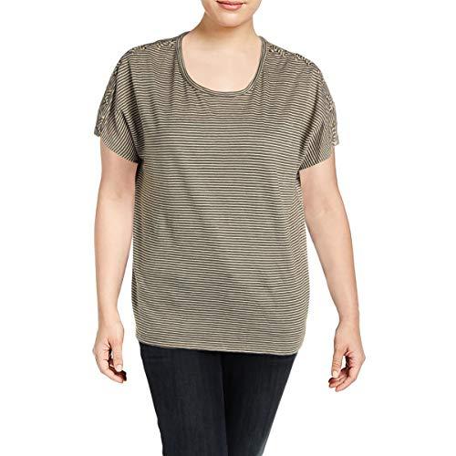 LAUREN RALPH LAUREN Womens Plus Linen Striped T-Shirt Green 1X