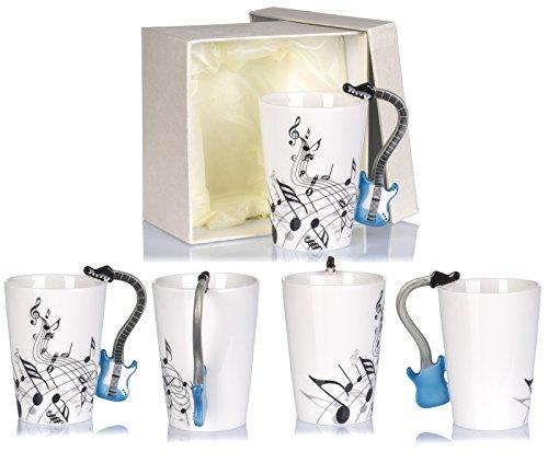 """Keramiktasse mit Motiv Henkel – Weiß Bedruckt """"E-Gitarre"""" Design ca. 0,2l – Tee & Kaffee Tasse zum Verschenken – Grinscard - 4"""